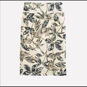J.Crew Gold Foil Leaf Pencil Skirt Size 4